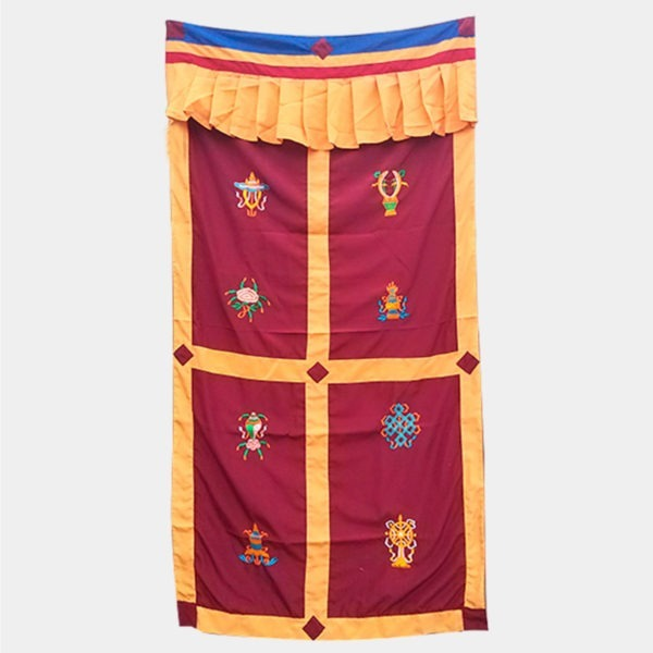 RO007 - Cortina Tibetana 8 Simbolos Auspiciosos Bordeaux